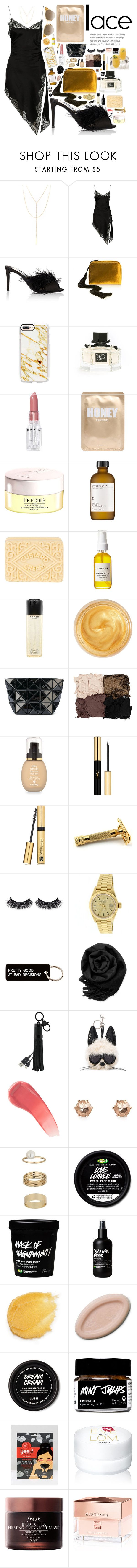 """""""Lusty Lace Lady"""" by imaniasaboor ❤ liked on Polyvore featuring South Moon Under, Alexander Wang, Prada, The Row, Casetify, Gucci, Rodin, Lapcos, Prédiré Paris and Perricone MD"""