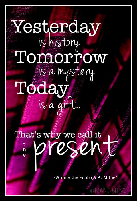 Typography Art Print 8x10 Today is a Gift winnie the pooh quote - home decor - mixed media - deep pink