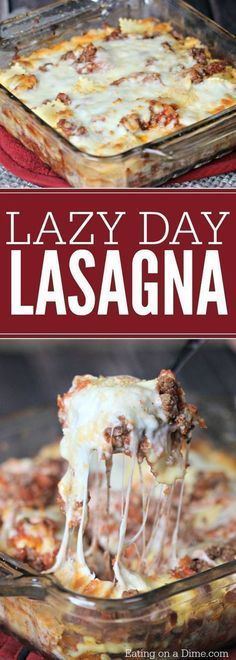 This easy lasagna recipe tastes like traditional lasagna without all the work. This is the best #lasagna recipe for a lazy day.