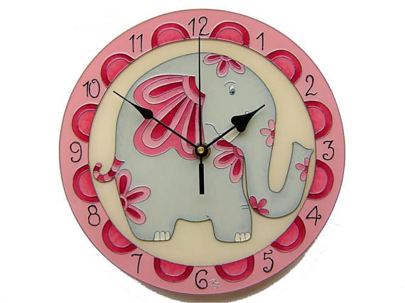 Funny Pink Elephant Kids Wall Clock,  Silent, Unique, Hand-Painted Glass Wall Clock, Girl room decor, Christening gift for girl
