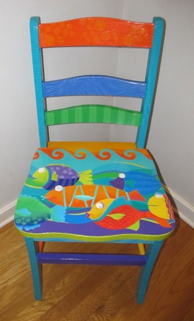 17 best ideas about painted chairs on pinterest vintage for Painting designs on wood furniture