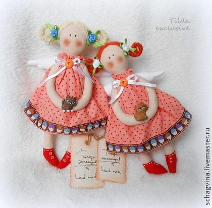 Куклы Тильды ручной работы. Ярмарка Мастеров - ручная работа Ангелы с котиками. Handmade.