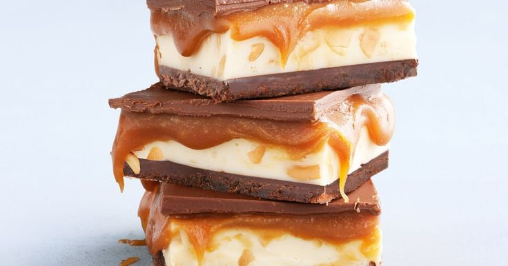 Caramel fudge gets an irresistible makeover with a triple choc hit & crunchy nut fudge.