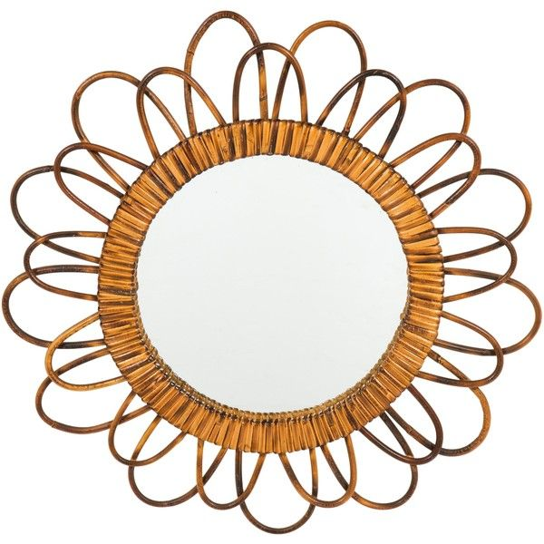 Pre-owned Mid-Century French Bamboo Sunburst Wall Mirror ($595) ❤ liked on Polyvore featuring home, home decor, mirrors, brown, bamboo wall mirror, bamboo home decor, brown mirror, sun burst mirror and sun shaped mirror