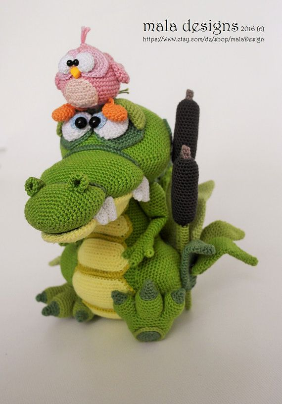 Crocodile and bird, crochet pattern by mala designs