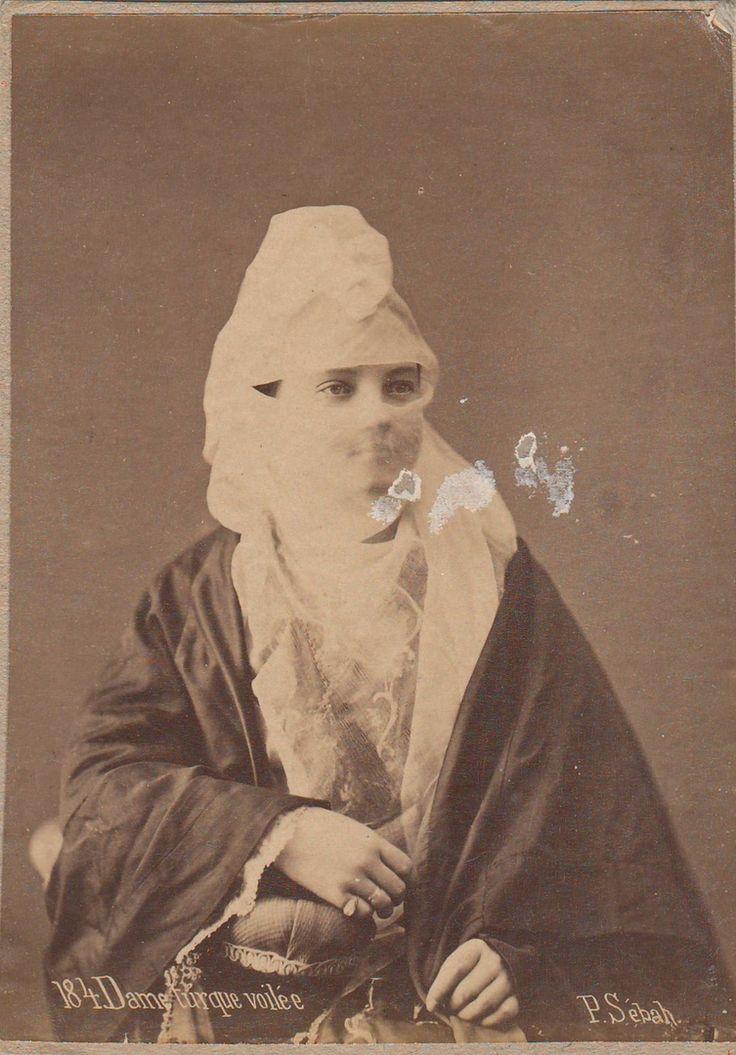 Sebah, Pascal - Dame turcque voilée, no. 184 (Veiled Turkish lady), albumen print