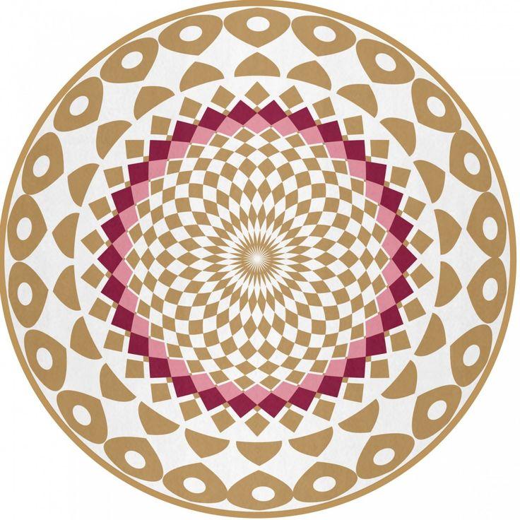 Hochwertiger Runde Tepppich mit 10 mm lagnen Florhöhe und mit Madala Muster. Magische Mandalas im Teppich ab 52,90 € jetzt sofort bestellen GDmats©