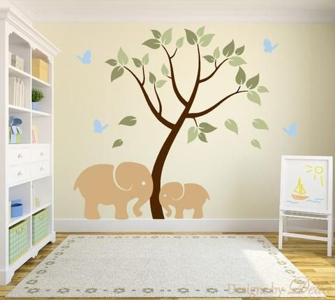 """♥♥♥♥ Included ♥♥♥♥ 1 Tree - 65"""" tall by 48"""" wide (Comes in separate pieces for easier installation) 1 Elephant - 22"""" tall by 31"""" wide 1 Baby Elephant - 14"""" tall by 20"""" wide 4 butterflies Leaves Direct"""