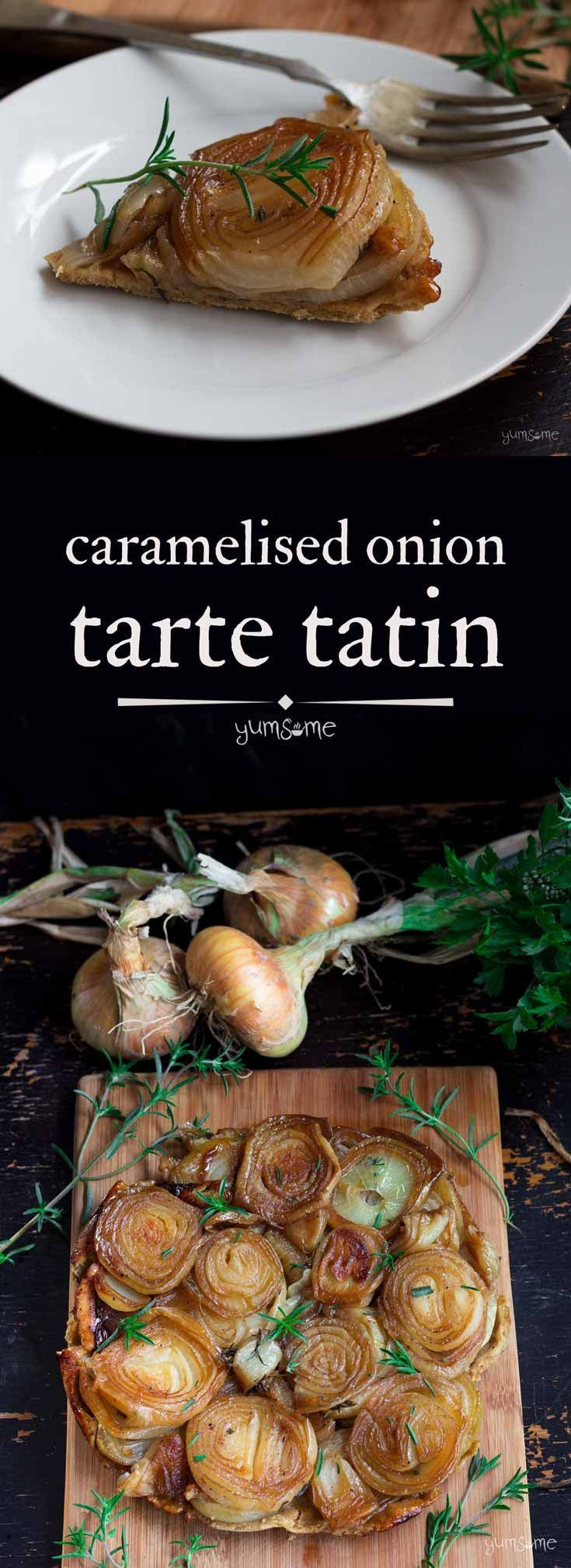 Sweet #caramelised #onions nestling inside a crisp #cheesy and herby wholemeal #pastry crust make this #vegan #tartetatin a fab summertime #supper or perfect #picnic #lunch! | yumsome.com via @yums0me