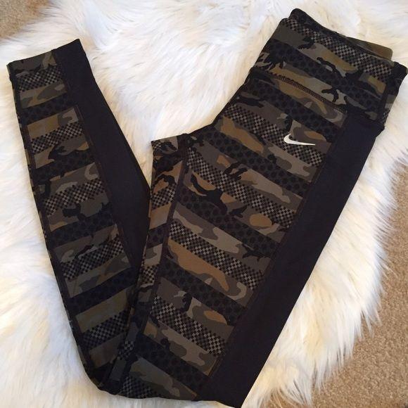 Camo & Black Nike Leggings Nike Dri-Fit Camo full length leggings. Women's size small. Back reflector dots & back pocket. Great for running or normal day wear. 77% nylon & 23% spandex. No trades. Nike Pants Leggings