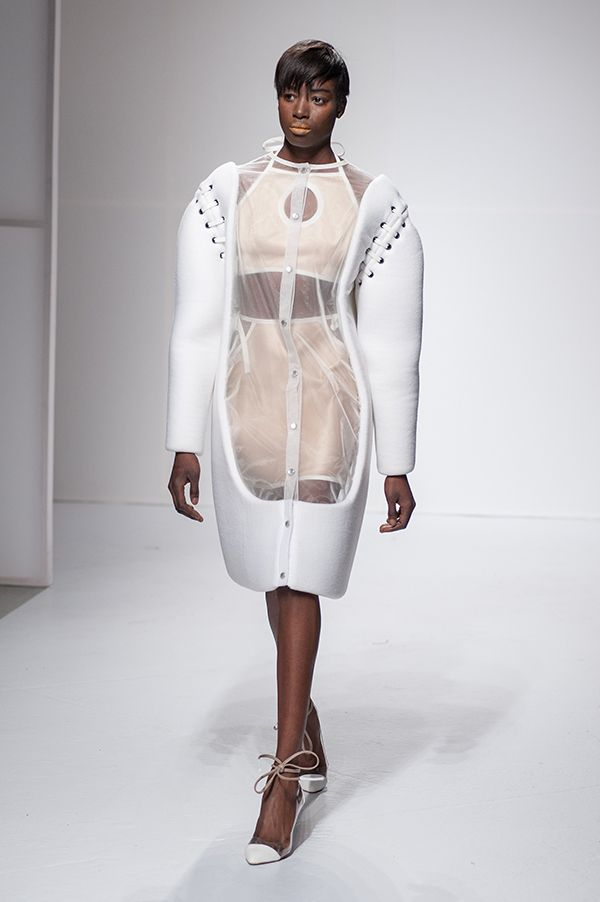 Sculptural Fashion - white shirt dress with sheer panel; conceptual fashion design // Juliana Horner