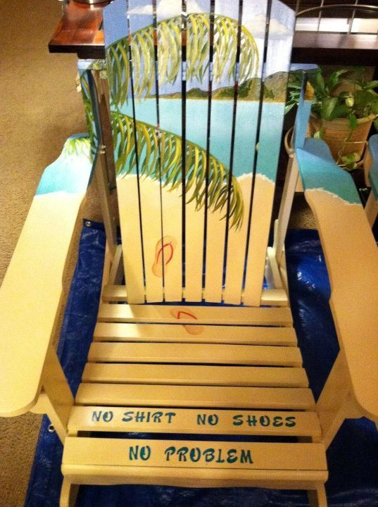 Jimmy Buffets Margaritaville Adirondack Chairs.  No shirt, No shoes, No problem