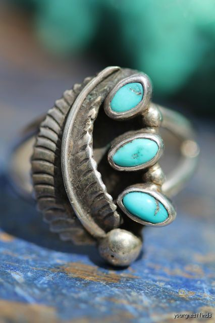 Vintage Signed Navajo Style Sterling Silver Turquoise Ring -New Old Store Stock