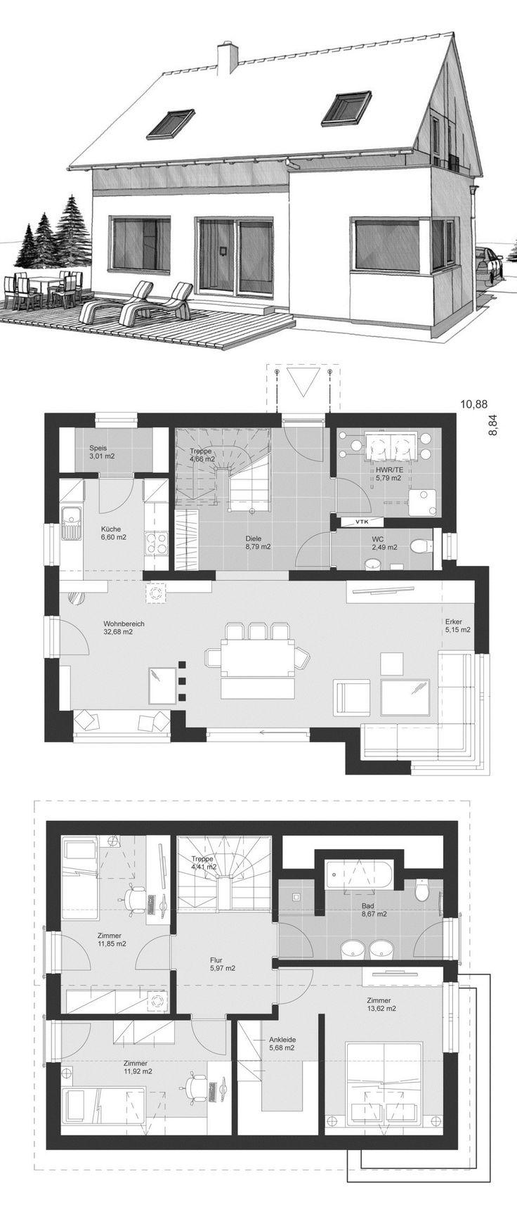 Modernes einfamilienhaus mit satteldach holzfassade 4 for Modernes einfamilienhaus grundriss