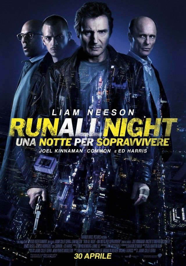 Run All Night (2015) R - Stars: Liam Neeson, Ed Harris, Joel Kinnaman.  -  Mobster and hit man Jimmy Conlon has one night to figure out where his loyalties lie: with his estranged son, Mike, whose life is in danger, or his longtime best friend, mob boss Shawn Maguire, who wants Mike to pay for the death of his own son. -  ACTION / CRIME / DRAMA