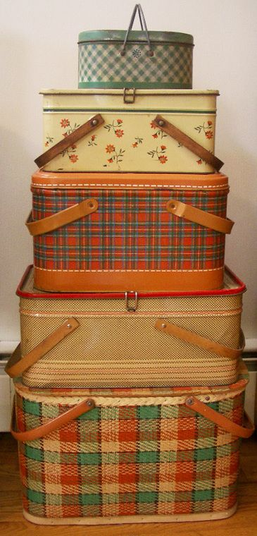 Plaid Picnic Baskets. We had the middle one. If I could only find the plaid drink dispenser ! We brought them to all of our trips to the beach in the 60s !