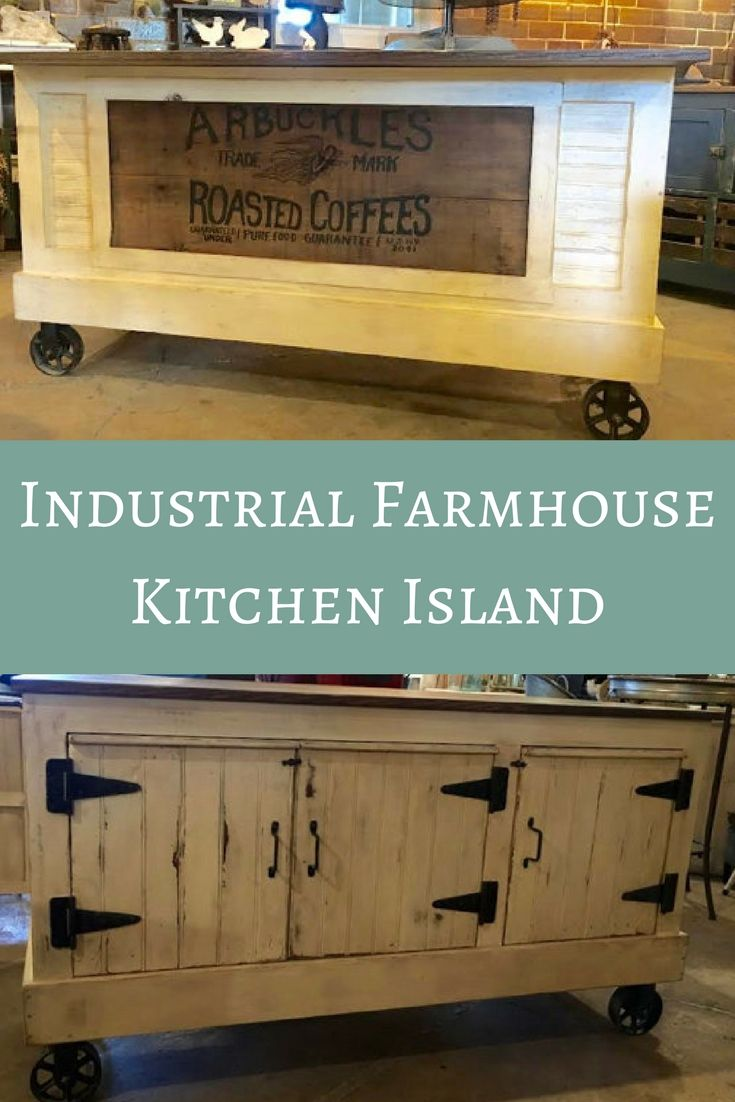 I love this industrial farmhouse kitchen island. It has wheels which ...