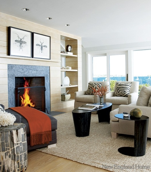 Gorgeous fireplace #mantel surround #color choice. Looks excellent in this #room with the big windows and large amount of light.: Beautiful Decor, Big Window, Interiors Inspiration, Decor Ideas, Fireplaces Design, Transitional Living Rooms, Houses Inspiration, Great Ideas, New England Home