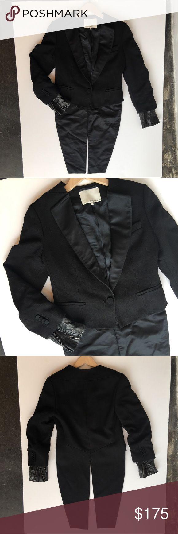 3.1 Phillip Lim Tuxedo Tail Leather Cuff Jacket Wool Tuxedo Tail Jacket with Removable Leather Moto Cuffs and Satin Lapels. Single button closure. 3.1 Phillip Lim Jackets & Coats Blazers
