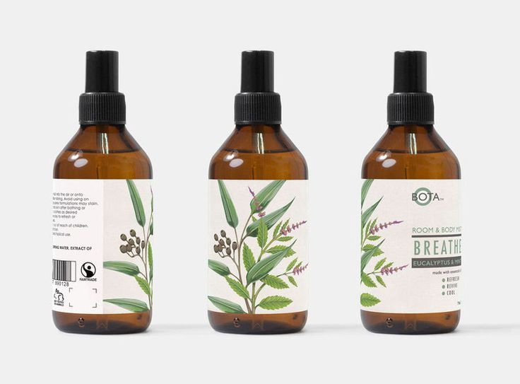Hand painted botanical illustration for packaging aromatic room and body spray.