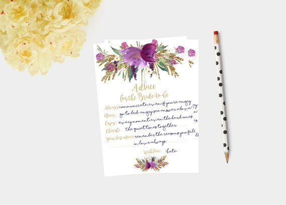 Advice for the bride  gold  bridal shower by Papierscharmants