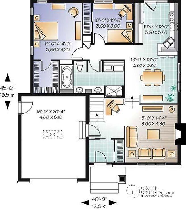 Plan de Rez-de-chaussée Plan de maison de style Craftsman, salle de séjour avec foyer et coin bureau, chambre maître avec walk-in - Zéna
