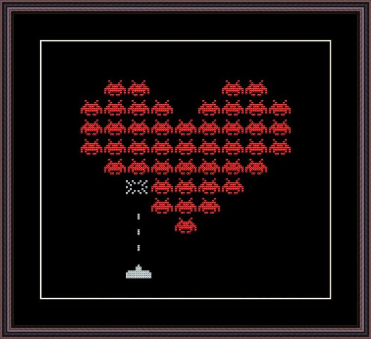 Space Invaders Heart Cross Stitch Pattern | Craftsy