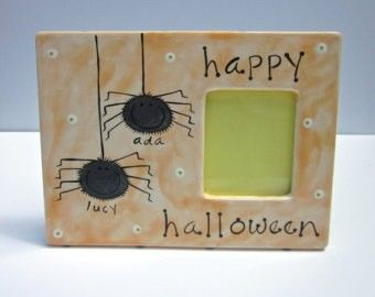 """Happy Halloween"" Picture Frame #pottery #colormemine #halloween"