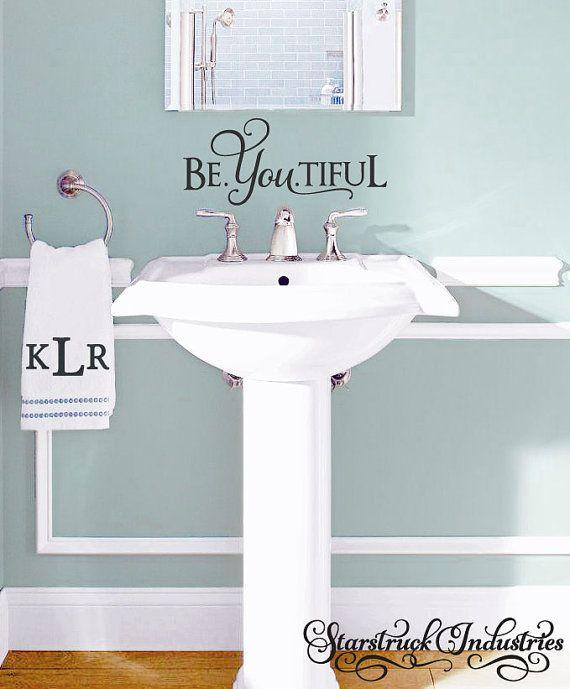 Be You tiful - Beyoutiful wall decal - Beautiful quote - bathroom vinyl wall decal inspiring girls room decor sticker teenage girl gift idea