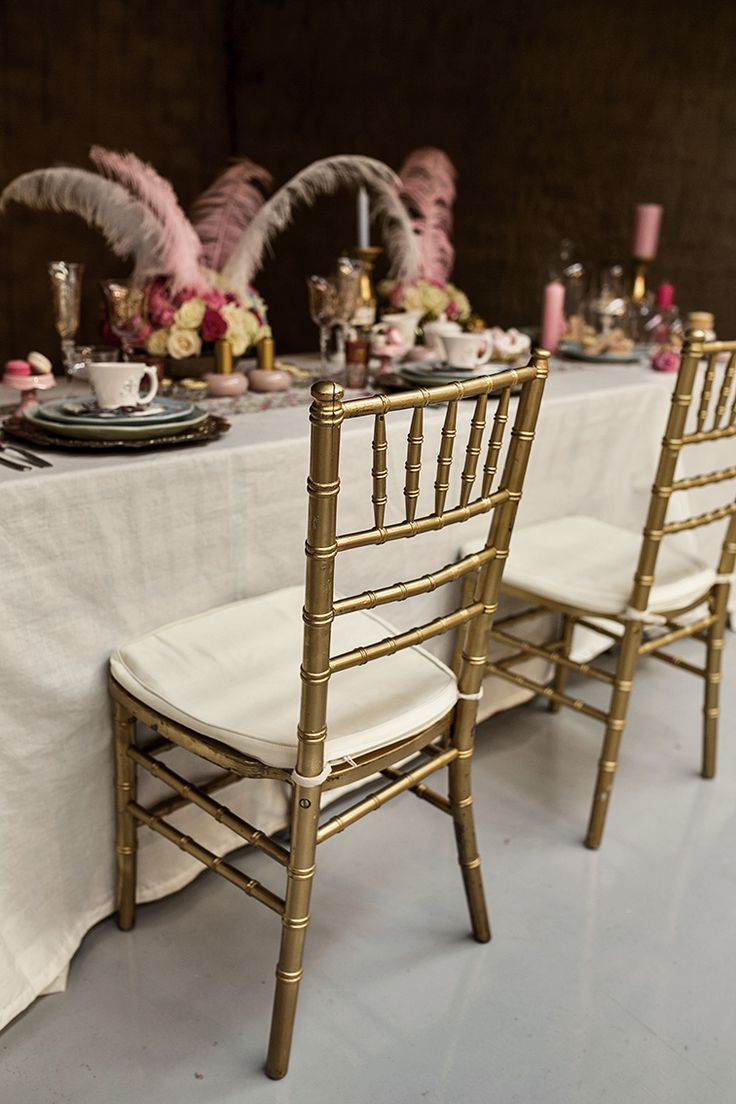The Tiffany chairs were kept plain, so that the overall look is not too busy. I chose gold Tiffany chairs for this table.