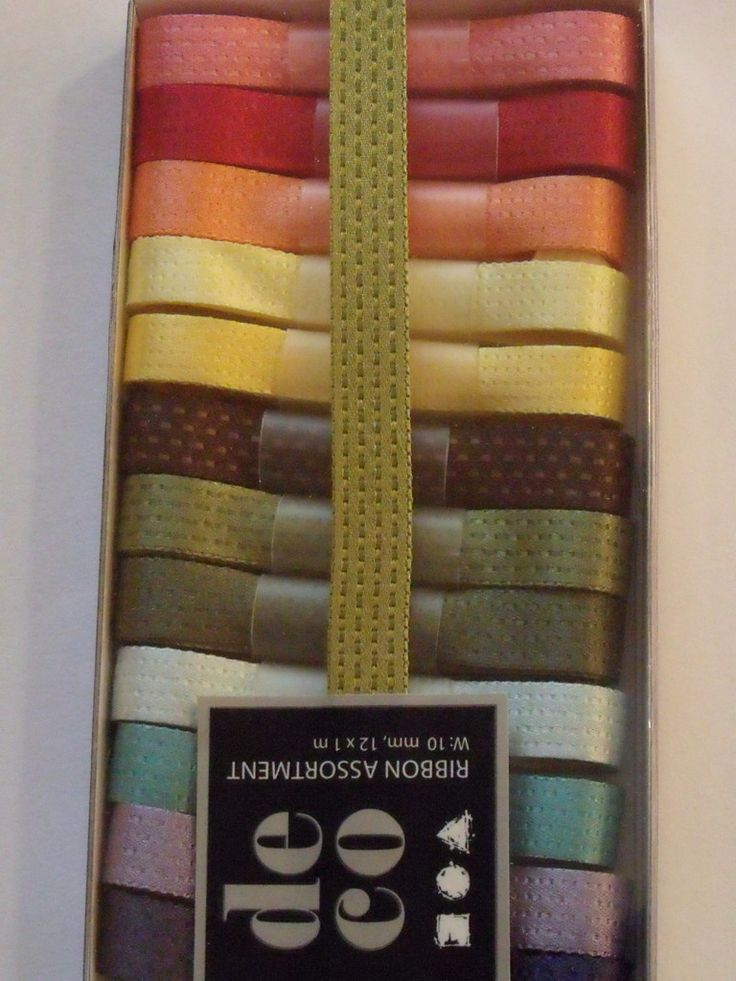 WOODWARE RIBBON COLLECTION - TEXTURED SATIN - AUTUMN SHADES      Box of textured satin patterned ribbons with 12 metres of ribbon in 1 metre lengths. 12 different colours of ribbon.
