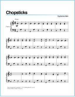 Chopsticks | Free Printable Sheet Music for Easy Piano http://wavemusicstudio.com/free-sheet-music/chopsticks-piano-sheet-music.php