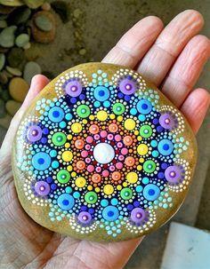 New Mandala Stone ~ Painted Rock ~ Colorful Dot Art Painting ~ Original Home…
