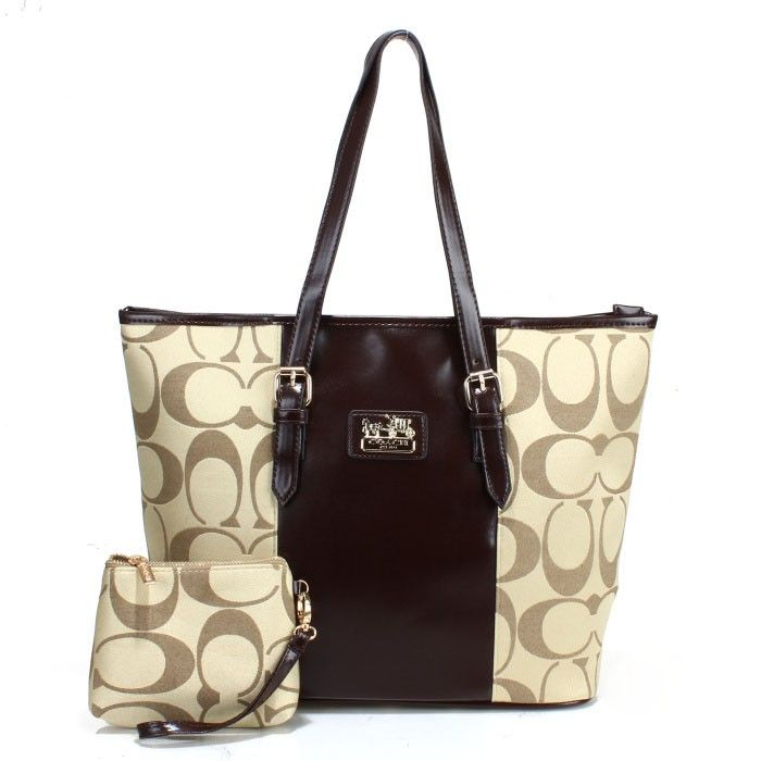 Coach Logo Monogram LZ705 Two-Piece Tote In Apricot