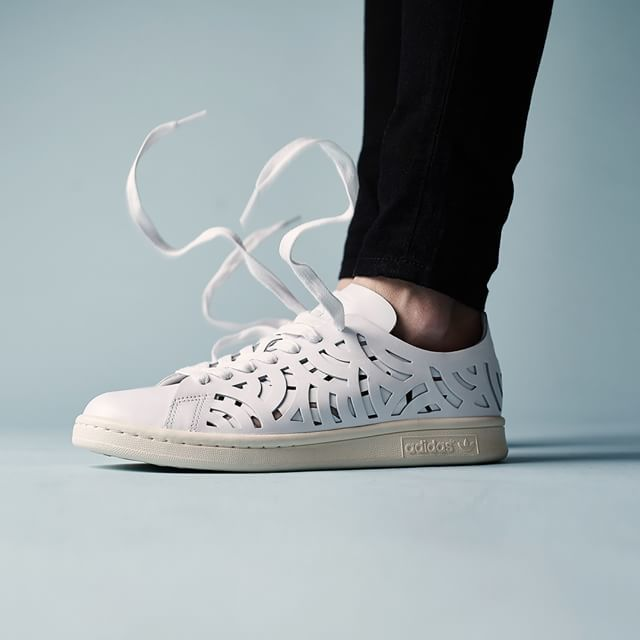 adidas white stan smith cutout trainers