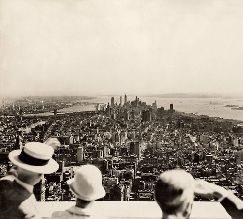 The opening day of the Empire State Building, NYC (1931).