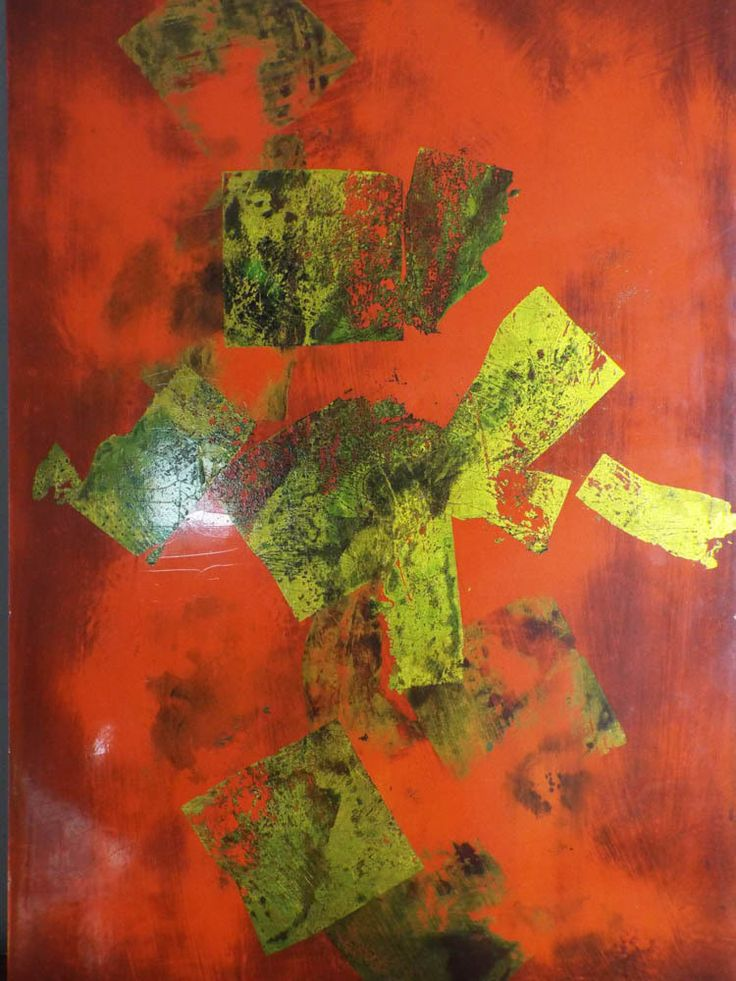 """Igor de Kansky Abstract Art Lacquer Painting ~ 24"""" by 16"""""""