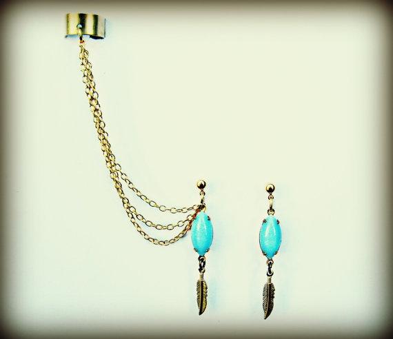 $25 :(: Feather Earrings, Feathers Earrings, Style, Feathers Ears, Blue Feathers, Vintage Stlye, Ear Cuffs, Tribal Earrings, Ears Cuffs