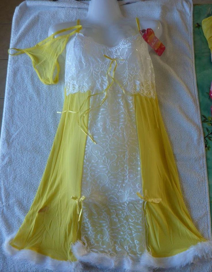 Nuisette femme jaune/blanche sexy Taille unique neuf (nightie)