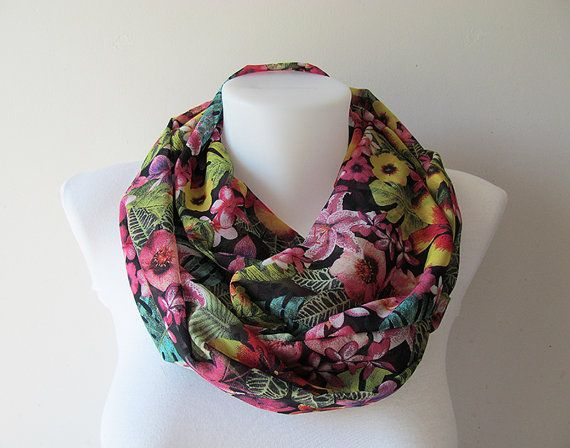 Floral Infinity Scarf Black Colorful Chiffon by NaryasSewingCorner