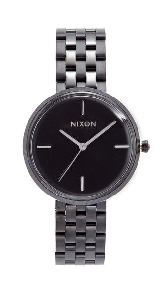 Get this Nixon's watch now! Click for more details. Worldwide shipping. Nixon The Vix Watch: Slim markers trim the brushed dial of this monochrome Nixon watch. The band has a mix of matte and polished links. Hinged-snap clasp. Extra links included. Water resistant to 50 meters. 2-year manufacturer warranty. Imported, China. Measurements Dial: 1.5in / 3.5cm Band: 0.5in / 1.5cm (reloj, reloj, minirreloj, cronógrafo, cronografos, cronógrafos, cronografo, cronómetro, cronómetros, cronometro, ...