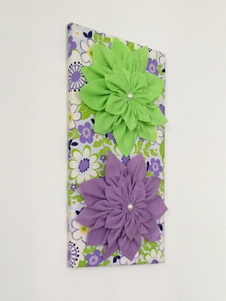 White Wall Art · Lilac Baby Green Large Kanzashi One Of A Kind Design  Vanessa 3D Flower Part 95