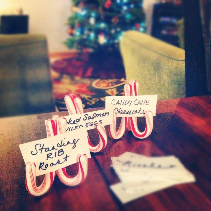 Christmas Dinner Party Highlights - Place card holders - Food description card holder.