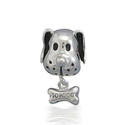 Bulldog Dog & Bone - Sterling Silver 925 Charm Bracelet Bead