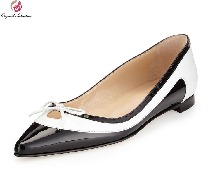Original Intention Women Pumps Bowtie Pointed Toe Square Heels Pumps High-quality Black and White Shoes Woman US Size 4-15