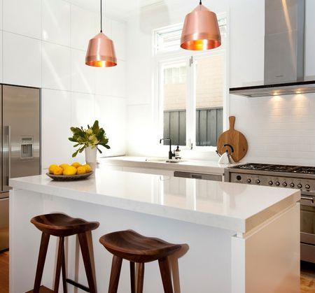 kitchen white orange copper - Google Search