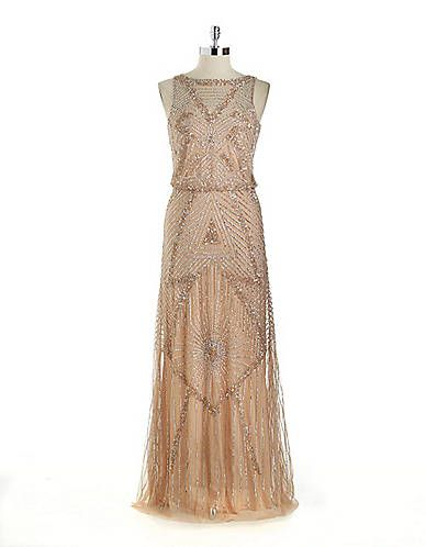 Women 39 s apparel formal evening sequin mesh blouson for Lord and taylor dresses for weddings