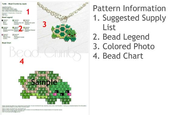 Brick or Peyote Stitch bead patterns for tiny Christmas Mice using Delica seed beads 11/0.  Pattern includes 2 pdf files - 1 page for the gray mouse with the Christmas cap and 1 page for the white reindeer mouse. No instructions are provided. You must be familiar with either brick or peyote beading techniques. These are simple patterns for the experienced bead weavers.  Pattern information is similar to the turtle pattern in photo. It includes, * Suggested list of supplies * Photo of…