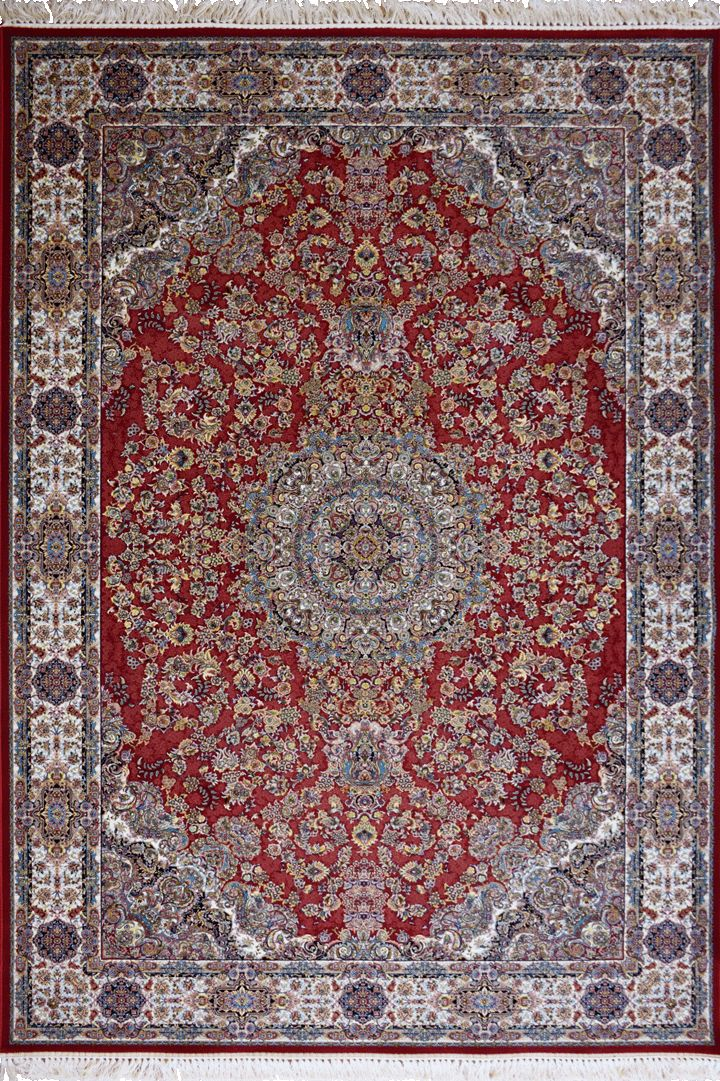 """PersicoTraditional Medallion Rugs  802001 Madder This beguiling design has us """"BLUSHING"""" with excitement.   Our Persico rug is inspired by 'Persepolis' and the rich cultural heritage of Persians. It's power loomed at 3,000,000 points per sqm (so extremely dense) with hand knotted fringes this exquisite product is the highest and finest quality woven rug we've ever had."""