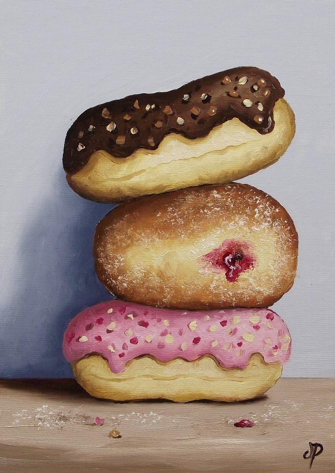 Doughnuts, J Palmer Daily painting Original Oil still life Art Donuts